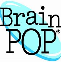 black letters with a blue oval that says BrainPop